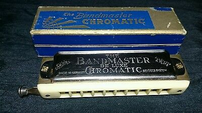 Vintage THE BAND MASTER DE LUXE CHROMATIC SEYDELS HARMONICA GERMAN BOXED