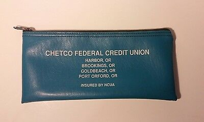 Vintage Bank Bag Vinyl Chetco Federal Credit Union Zippered Oregon Coast Teal