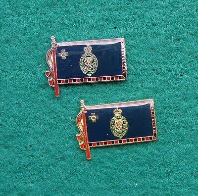 RUC Royal Ulster Constabulary Police CRESTED FLAG tie tac pin badges