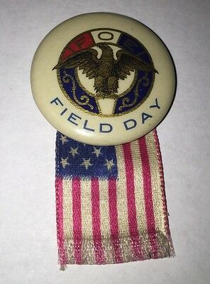 Fraternal Order of Eagles FOE Field Day Pinback Button With Flag Ribbon (#1)