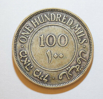 Palestine: 100 Mils coin since 1931 in VF Condition. Key Year Silver .720, 11.7g