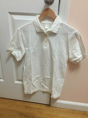 White Polo Top School Uniform Shirt Size Unisex Small