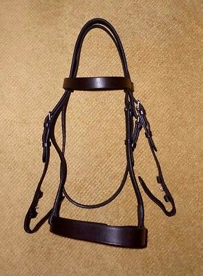 Full Size Brown Leather Hunting Weight Hunter Bridle