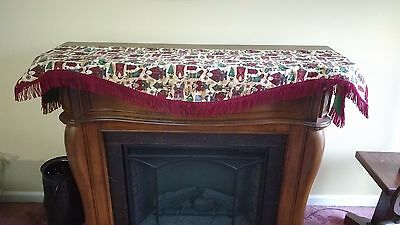 "LiNED ReVERSIBLE ChRISTMAS FiREPLACE FrINGED MaNTEL ScARF SaNTA CLaUS 72"" LoNG!"