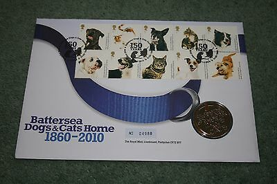 Royal Mail/Royal Mint PMC - Battersea Dogs & Cats Home Stamp/Medal Cover 2010