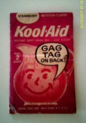 Vintage 1960's Unopened Packet of KOOL-AID STRAWBERRY DRINK MIX
