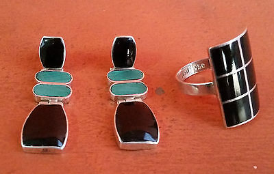 Beautiful Set Earrings & Ring of Sterling Silver 950 Turquoise & Turquoise Black