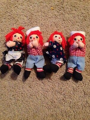 Lot 4 Vintage Raggedy Ann Andy Dolls Clips