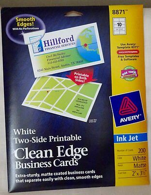 Avery 8871 White 2-sided printable Clean Edge Business Cards-opened box