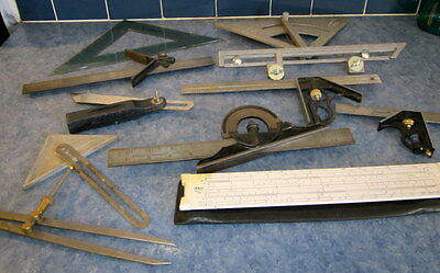 Vintage Measuring Device Lot 11 Pieces, LS STARRETT, STANLEY, GLOBMASTER, OTHERS