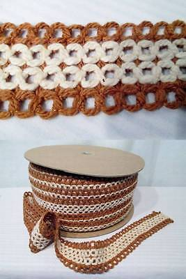 """Vtg 50s 60s GIMP Fabric Trim Upholstery Curtains Yellow Gold Fringe 5 YD 2.25/"""""""