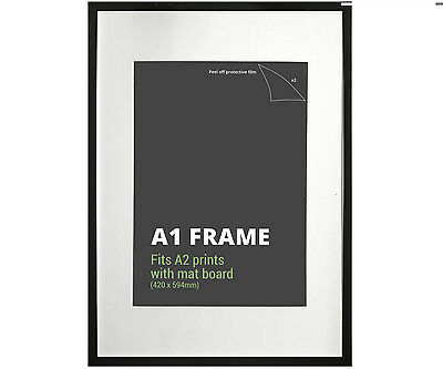 A1 Black Picture Frame + Mat Board - Fits A1 or A2 Print - Poster Frame