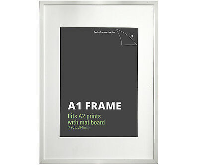 A1 White Picture Frame + Mat Board - Fits A1 or A2 Print - Poster Frame