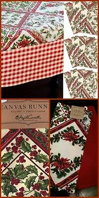 """April Cornell 16 Pc XMAS Tablecloth 60"""" x 120 Napkins Table Runner Towels Holly"""