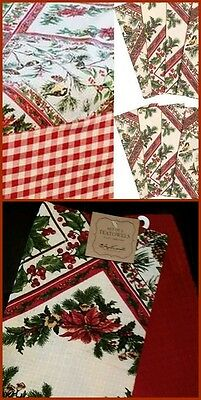 """April Cornell 11 Pc XMAS Tablecloth 60"""" x 120"""" Set Napkins Dish Towels Holly Red"""