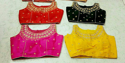 USA Pink black yellow Red Saree blouse Ready made stone work embroidered