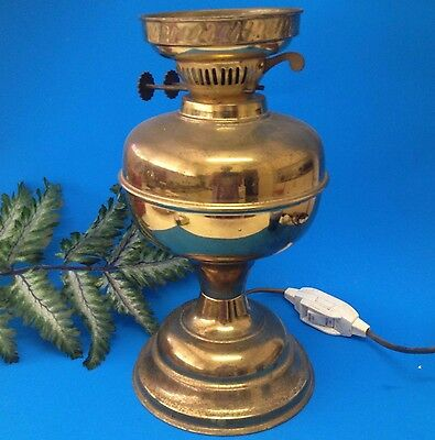 Antique Early 20thC - Brass Oil Burner Lamp Base - Converted to Electricity