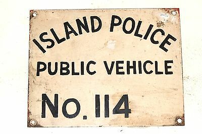 GUERNSEY ISLAND POLICE PUBLIC VEHICLE BUS or TAXI LICENCE PLATE No. 114. VINTAGE