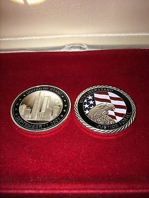 1oz Silver Plated Coin September 9/11 United We Stand Twin Towers