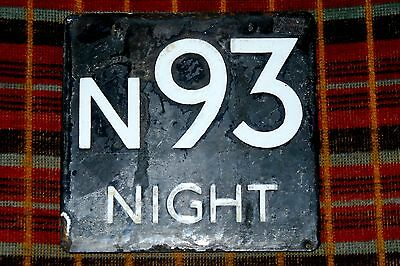 London Transport Bus Stop E-Plate: Night Bus Route N93