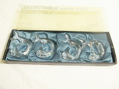 BIJAN Vintage Collectable Napkin Rings Clear Acrylic Fish (4) Mid Century Modern