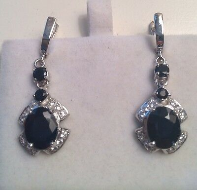 $250 Natural Rich Blue Sapphire-White Topaz Sterling 925Silver Earrings