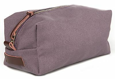 NEW Wiley Gear Toiletry Bag Shaving Dopp Kit Travel (Grey) Canvas Leather