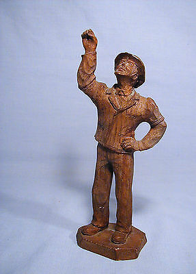 Patriotic Hand Carved Wood Depression Era Man In Suit And Hat Figure