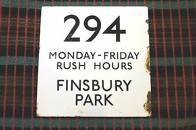 LARGE 8-inch LONDON TRANSPORT BUS STOP E-PLATE 294 FINSBURY PARK Turnpike Lane