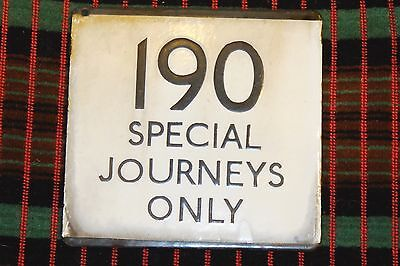 LONDON TRANSPORT BUS STOP E-PLATE Route 190 Special Journeys Only - Rare plate.
