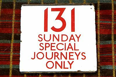 LONDON TRANSPORT BUS STOP E-PLATE Route 131 SUNDAY SPECIAL JOURNEYS ONLY Red/Whi