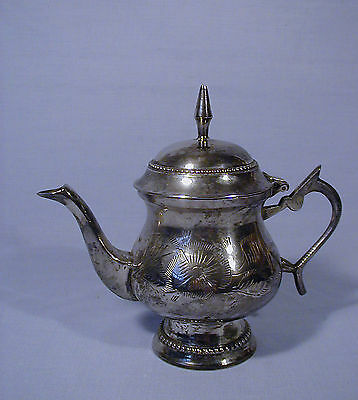 VICTORIAN STYLE SILVER PLATE ETCHED INDIVIDUAL TEA POT or WATER PITCHER INDIA