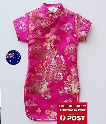NEW Kids Girl Chinese Traditional QIPAO Costume Tunic Short Sleeve cheong Dress