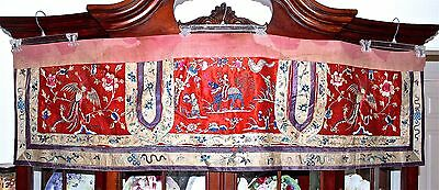 "c' 19th C Chinese Silk Embroidered Scenic Banner Textile Panel 68"" Long"