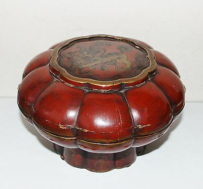 Antique Chinese Foo Dog Footed Wood Basket Red Lacquer Signed Late 1800's Qing
