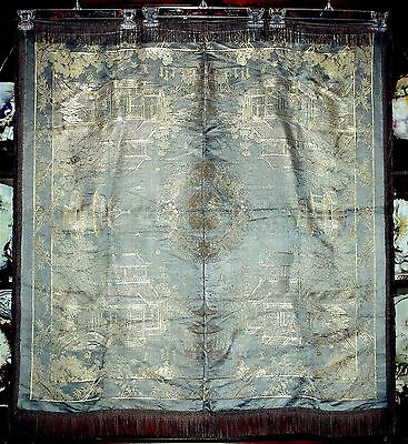 VTG Chinese Woven Silk Brocade Scenic Tablecloth&Fringes People Pagodas Phoenix