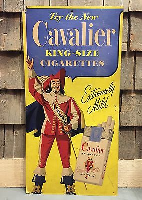 Vintage CAVALIER King Size Cigarettes Cardboard Store Advertising Sign 30x15