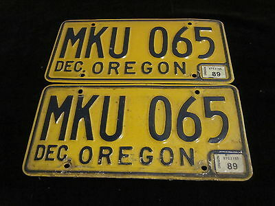 Pair of Vintage 1989 Oregon  License Plates Very Nice Condition!