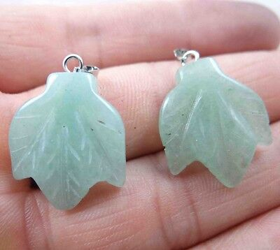 2pcs  Natural picture Leaves agate pendant Gemstone Loose Beads PL_18