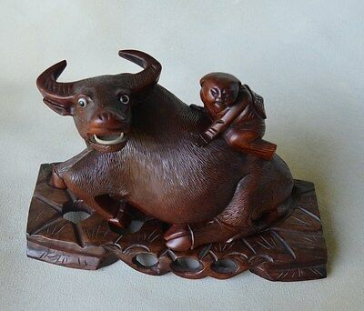 Antique Chinese Carved Wood Statue of Ox or Water Buffalo With Children and Base