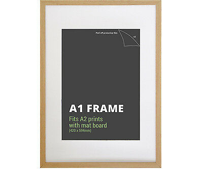 A1 Birch Picture Frame + Mat Board - Fits A1 or A2 Print - Poster Frame