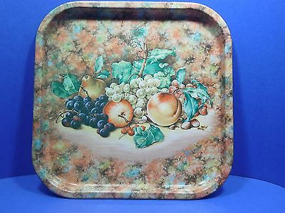 """Autumn Fruit Serving Tray Metal Colorful 13.5"""" Square Grapes Pears Peaches Berry"""