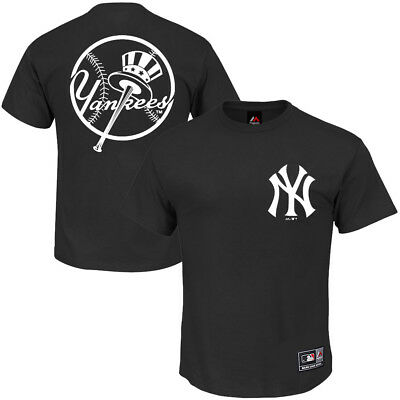 NY Yankees Majestic MLB Thune Double Sided T-Shirt - Black