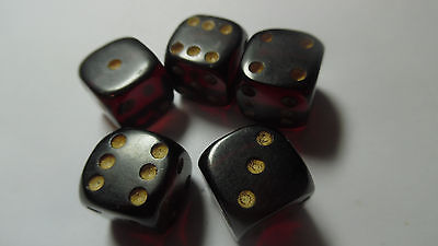 5 Vintage Antique Ruby Red Cherry Amber 1/2 in. Dice
