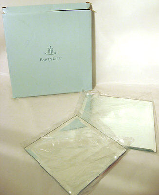 Partylite Mirrored Candle Coaster Set P7035 2 Pieces Ob