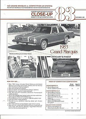 """1983 Mercury Grand Marquis Vs Competiton Information From Facts Book """"nos"""""""