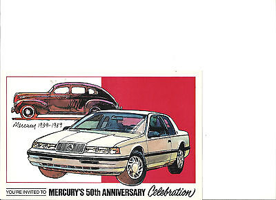 """1939-1989 Mercury-Cougar 50Th Anniv Post Card """"nos"""" Two Post Cards"""
