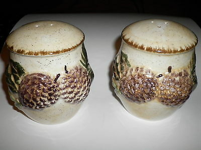 Winters Hearth never used pine cone ceramic collectible salt & pepper shakers