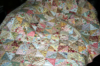 """NEW - Hand Made Quilt """"SHABBY CHICK"""" Design by Quilt-Addicts 78"""" x 73"""""""