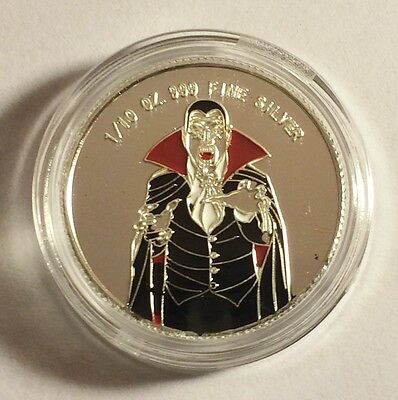 """New 2014 Coloured """"DRACULA"""" 1/10th OZ 999.0 Pure Silver Proof Coin a"""